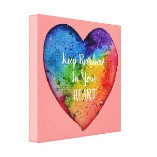 Cute Watercolor Rainbow Heart Canvas Print