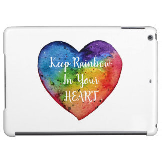 Cute Watercolor Rainbow Heart Case For iPad Air