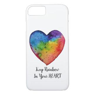 Cute Watercolor Rainbow Heart Case-Mate iPhone Case