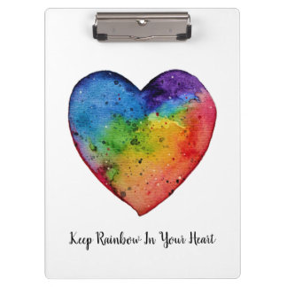 Cute watercolor Rainbow Heart Clipboard