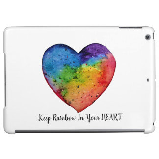 Cute Watercolor Rainbow Heart Cover For iPad Air