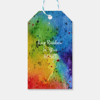 Cute Watercolor Rainbow Heart Gift Tags