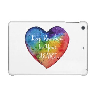 Cute Watercolor Rainbow Heart iPad Mini Cover