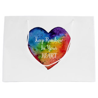 Cute Watercolor Rainbow Heart Large Gift Bag