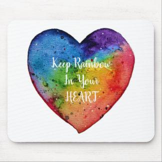 Cute Watercolor Rainbow Heart Mouse Pad