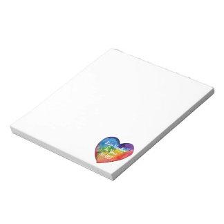 Cute Watercolor Rainbow Heart Notepad
