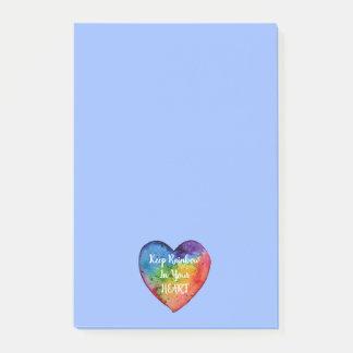 Cute Watercolor Rainbow Heart Post-it Notes