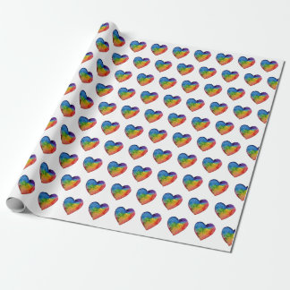 Cute Watercolor Rainbow Heart Wrapping Paper