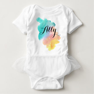 Cute watercolor splash rainbow baby girl shirt