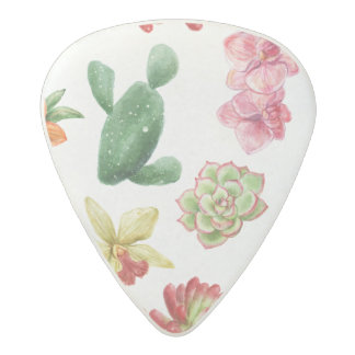 Cute Watercolor Succulent hand drawn pattern Acetal Guitar Pick