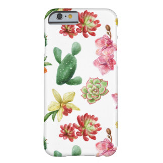 Cute Watercolor Succulent hand drawn pattern Barely There iPhone 6 Case