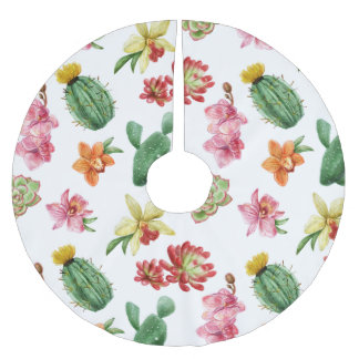 Cute Watercolor Succulent hand drawn pattern Brushed Polyester Tree Skirt