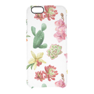 Cute Watercolor Succulent hand drawn pattern Clear iPhone 6/6S Case