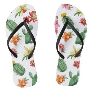 Cute Watercolor Succulent hand drawn pattern Flip Flops