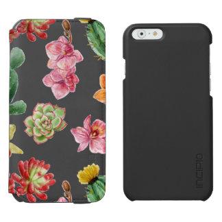 Cute Watercolor Succulent hand drawn pattern Incipio Watson™ iPhone 6 Wallet Case