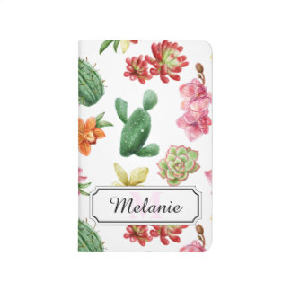 Cute Watercolor Succulent hand drawn pattern Journal