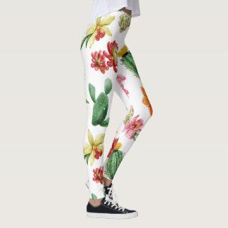 Cute Watercolor Succulent hand drawn pattern Leggings