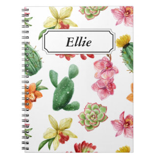 Cute Watercolor Succulent hand drawn pattern Notebooks