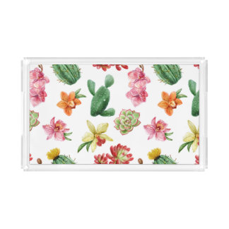 Cute Watercolor Succulent hand drawn pattern Perfume Tray