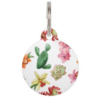Cute Watercolor Succulent hand drawn pattern Pet Name Tag