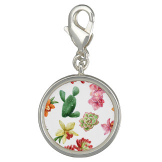 Cute Watercolor Succulent hand drawn pattern Photo Charms