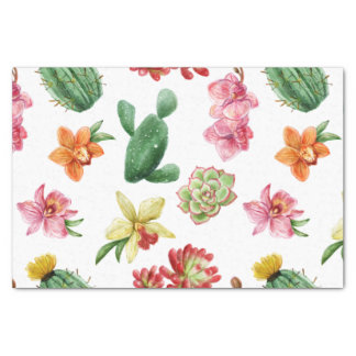 Cute Watercolor Succulent hand drawn pattern Tissue Paper