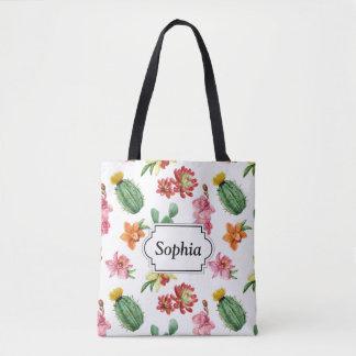 Cute Watercolor Succulent hand drawn pattern Tote Bag