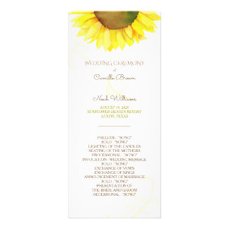 Cute Watercolor Sunflower Wedding Program Full Color Rack Card