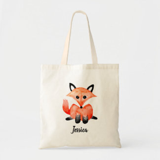 Cute Watercolor Woodland Forest Baby Fox & Name Tote Bag