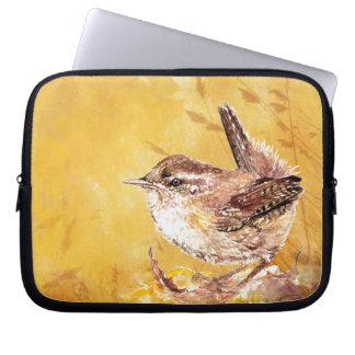 Cute Watercolor Wren Bird Laptop Computer Sleeves
