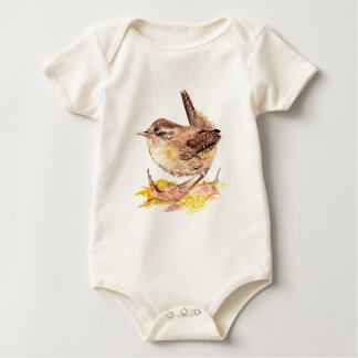 Cute Watercolor Wren Bird, Nature, Wildlife Baby Bodysuit