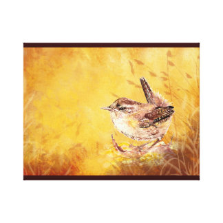 Cute Watercolor Wren Bird Painting Canvas Print