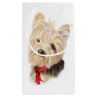 Cute Watercolor Yorkie Yorkshire Terrier Dog Small Gift Bag
