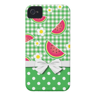 cute watermelon daisy gingham pattern iPhone 4 cases