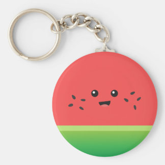 Cute Watermelon, Happy and Cheerful Basic Round Button Keychain