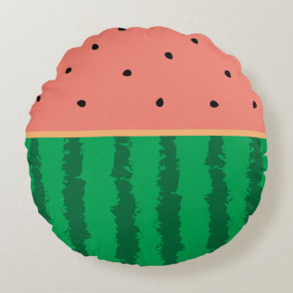 Cute Watermelon One In A Melon Funny Foodie Silly Round Pillow