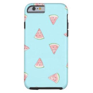 Cute watermelon pattern blue background tough iPhone 6 case