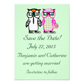 "Cute Wedding Bride & Groom Owl Save the Date Card 4.5"" X 6.25"" Invitation Card"