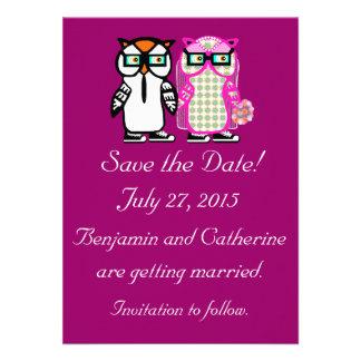 Cute Wedding Bride Groom Owl Save the Date Card