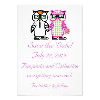 Cute Wedding Bride & Groom Owl Save the Date Card