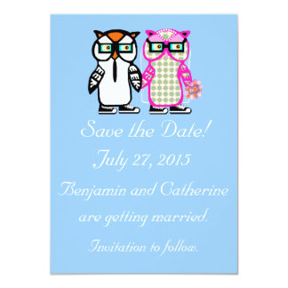 Cute Wedding Bride & Groom Owl Save the Date Card Announcements