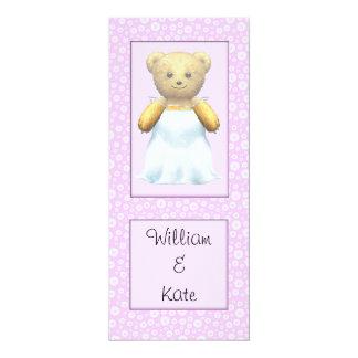 """Cute Wedding Bride Teddy Bear 4"""" X 9.25"""" Invitation Card"""