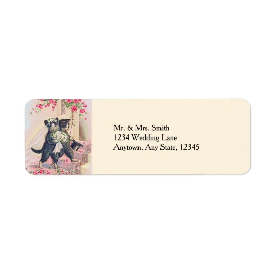 Cute Wedding Cats Bride and Groom Return Address Label