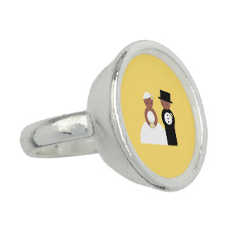 Cute wedding couple photo ring
