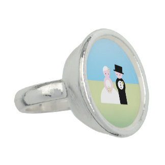 Cute wedding couple photo rings