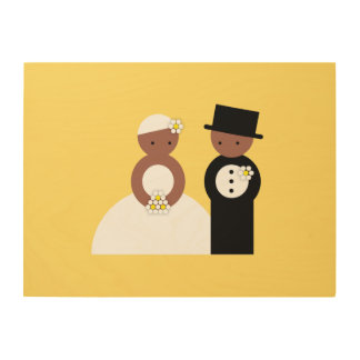 Cute wedding couple wood canvas
