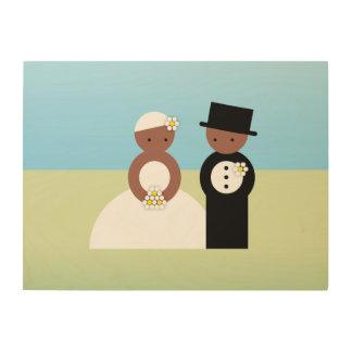 Cute wedding couple wood print