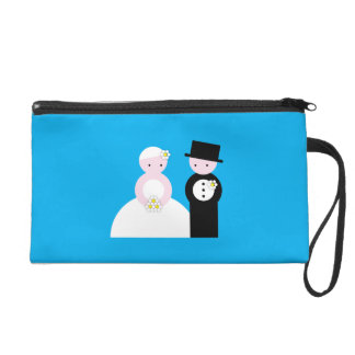 Cute wedding couple wristlet clutch