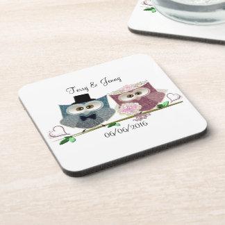 Cute Wedding Owls Beverage Coaster