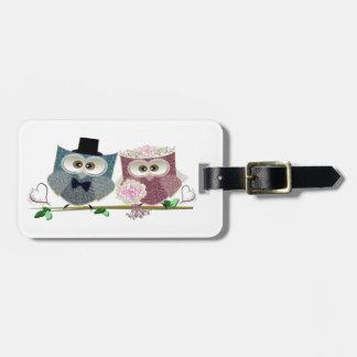 Cute Wedding Owls Luggage Tag